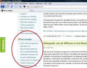 Twitter-favorieten van @daepunt als RSS-feed op dae's weblog